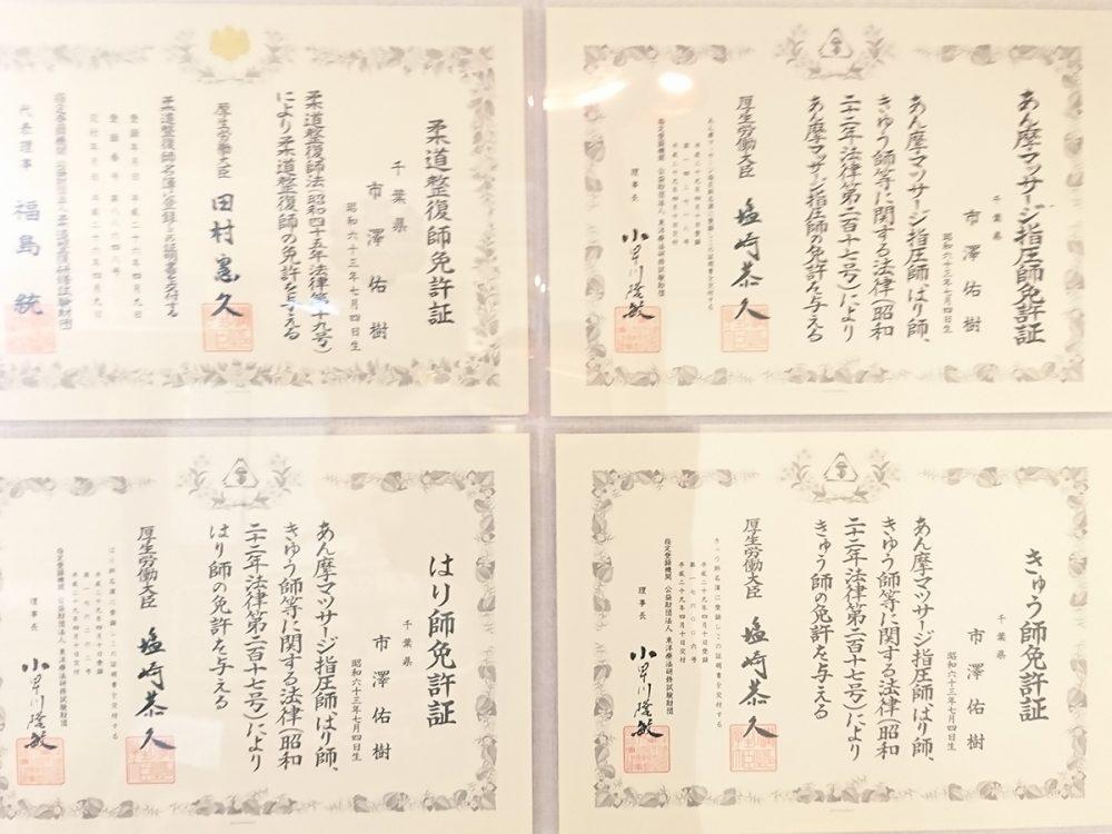 柔道整復師、鍼師、灸師、按摩マッサージ指圧師の4つの国家資格